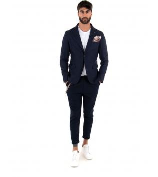 Outfit Uomo Giacca Pantalone Lino Paul Barrell Tinta Unita Blu Elegante GIOSAL