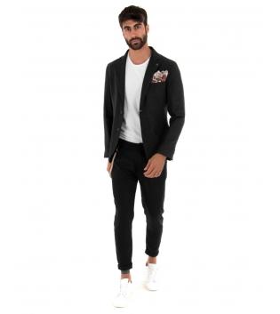 Outfit Uomo Giacca Pantalone Lino Paul Barrell Tinta Unita Nero Elegante GIOSAL
