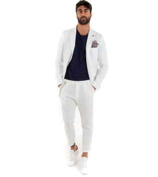 Outfit Uomo Giacca Pantalone Lino Paul Barrell Tinta Unita Bianco Elegante GIOSAL