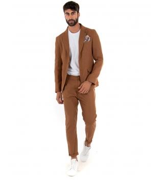 Outfit Uomo Giacca Pantalone Lino Paul Barrell Tinta Unita Camel Elegante GIOSAL