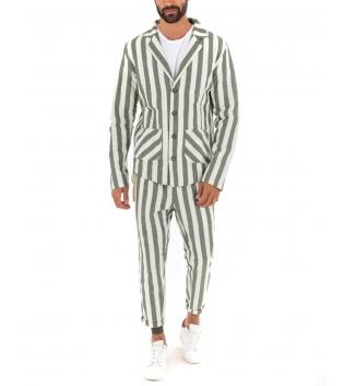 Outfit Uomo Rigato Casual Verde Giacca Camicia Paul Barrell Pantalone Lino Elegante GIOSAL
