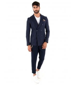 Outfit Uomo Giacca Pantalone Lino Paul Barrell Tinta Unita Blu Doppiopetto Elegante GIOSAL