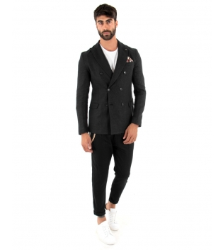 Outfit Uomo Giacca Pantalone Lino Paul Barrell Tinta Unita Nero Doppiopetto Elegante GIOSAL
