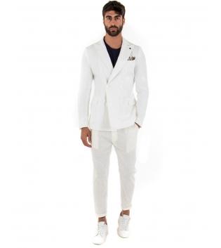 Outfit Uomo Giacca Pantalone Lino Paul Barrell Tinta Unita Bianco Doppiopetto Elegante GIOSAL