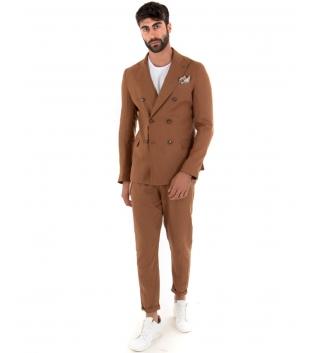 Outfit Uomo Giacca Pantalone Lino Paul Barrell Tinta Unita Camel Doppiopetto Elegante GIOSAL-Camel-44