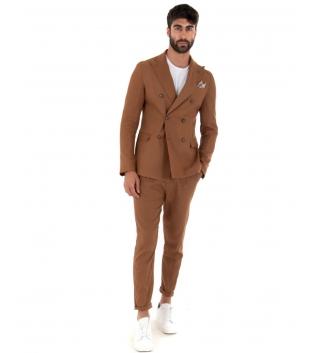 Outfit Uomo Giacca Pantalone Lino Paul Barrell Tinta Unita Camel Doppiopetto Elegante GIOSAL