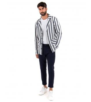 Outfit Uomo Rigato Casual Blu Giacca Camicia Paul Barrell Pantalone Lino Elegante GIOSAL
