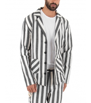 Outfit Uomo Rigato Casual Nero Giacca Camicia Paul Barrell Pantalone Lino Elegante GIOSAL