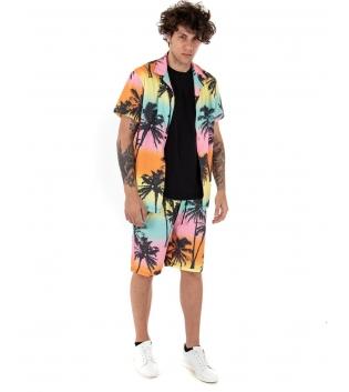 Outfit Uomo Camicia Bermuda Multicolore Maniche Corte Casual GIOSAL