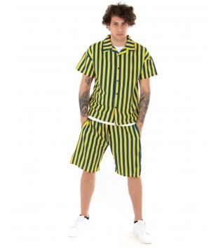 Outfit Uomo Completo Rigato Giallo Blu Camicia Bermuda Colletto GIOSAL