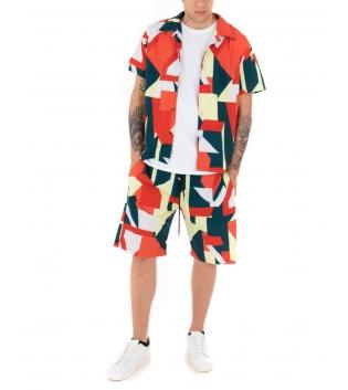 Outfit Uomo Completo Camicia Bermuda Multicolore Casual GIOSAL