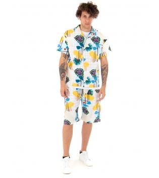 Outfit Uomo Completo Camicia Pantalone Fondo Bianco Floreale Casual GIOSAL