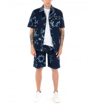 Completo Uomo Jeans Camicia Bermuda Stampe Denim Scuro Casual GIOSAL