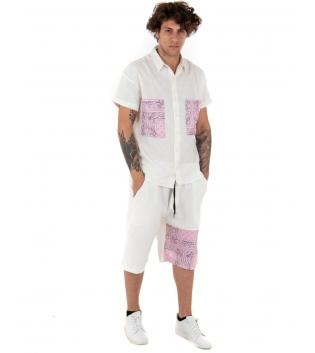 Completo Uomo Lino Bianco Outfit Camicia Paisley Rosa Bermuda GIOSAL