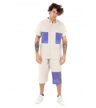 Completo Uomo Lino Beige Outfit Camicia Paisley Viola Bermuda GIOSAL-Beige-S