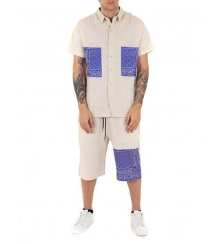 Completo Uomo Lino Beige Outfit Camicia Paisley Viola Bermuda GIOSAL