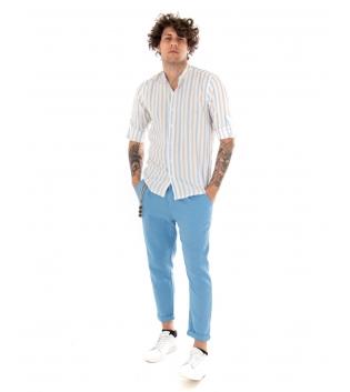 Outfit Uomo Camicia Rigata Pantalone Azzurro Tinta Unita Casual GIOSAL