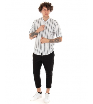 Outfit Uomo Camicia Rigata Pantalone Nero Tinta Unita Casual GIOSAL