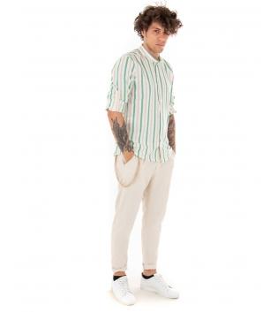 Outfit Uomo Camicia Verde Rigata Pantalone Beige Tinta Unita Casual GIOSAL-Verde-S