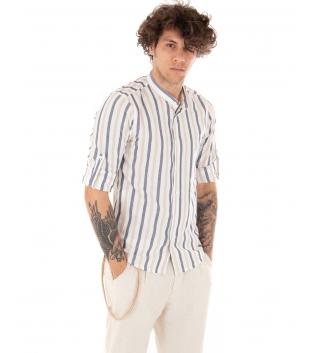 Outfit Uomo Camicia Blu Rigata Pantalone Beige Paul Barrell Tinta Unita Casual GIOSAL