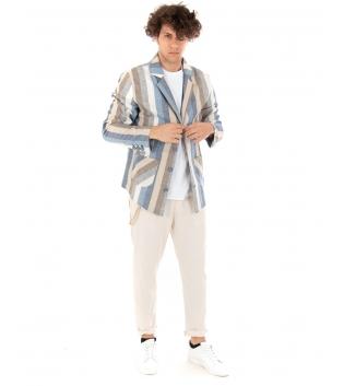 Outfit Uomo Giacca Multicolore Rigata Pantalone Beige Paul Barrell Tinta Unita Casual GIOSAL