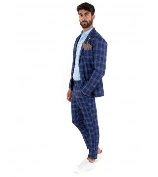 Outfit Uomo Completo Giacca Pantalone Quadri Classico Elegante GIOSAL