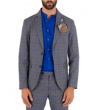 Outfit Uomo Completo Grigio Giacca Pantalone Quadri Classico Elegante GIOSAL