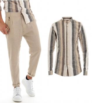 Outfit Uomo Maniche Lunghe Camicia Multicolore Pantalone Beige Paul Barrell GIOSAL
