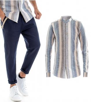 Outfit Uomo Camicia Pantalone Lino Paul Barrell Multicolore Blu Celeste GIOSAL