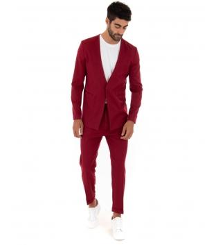 Completo Uomo Outfit Tinta Unita Bordeaux Giacca Pantalone Classico GIOSAL