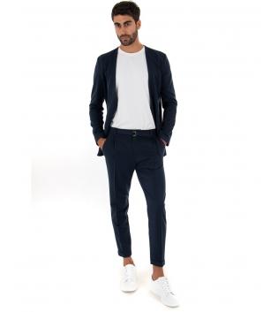 Completo Uomo Outfit Tinta Unita Blu Giacca Pantalone Classico GIOSAL