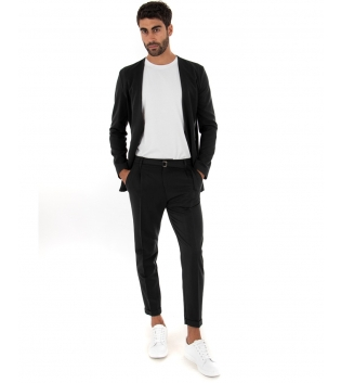 Completo Uomo Outfit Tinta Unita Nero Giacca Pantalone Classico GIOSAL