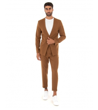 Completo Uomo Outfit Tinta Unita Tabacco Giacca Pantalone Classico GIOSAL
