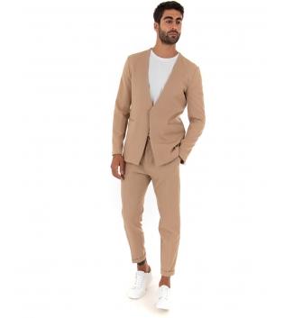 Completo Uomo Outfit Tinta Unita Camel Giacca Pantalone Classico GIOSAL