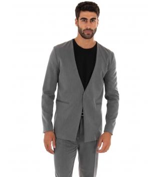 Completo Uomo Outfit Tinta Unita Grigio Giacca Pantalone Classico GIOSAL