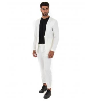 Completo Uomo Outfit Tinta Unita Bianco Giacca Pantalone Classico GIOSAL