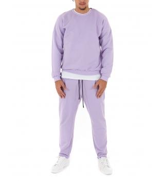 Completo Uomo Tuta Felpa Pantalone Tinta Unita Lilla Outfit Casual GIOSAL
