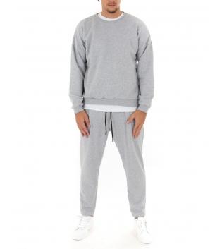 Completo Uomo Tuta Felpa Pantalone Tinta Unita Grigio Outfit Casual GIOSAL