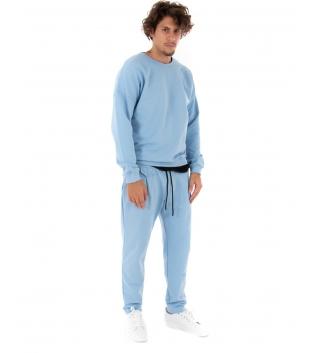 Completo Uomo Tuta Felpa Pantalone Tinta Unita Celeste Outfit Casual GIOSAL
