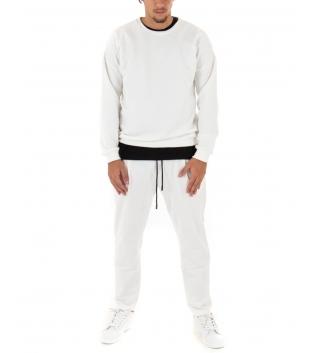 Completo Uomo Tuta Felpa Pantalone Tinta Unita Panna Outfit Casual GIOSAL