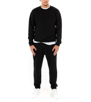 Completo Uomo Tuta Felpa Pantalone Tinta Unita Nero Outfit Casual GIOSAL