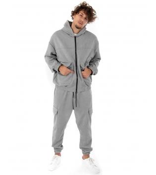 Outfit Uomo Completo Tuta Camoscio Felpa Pantalone Zip Cappuccio Tinta Unita Grigio GIOSAL