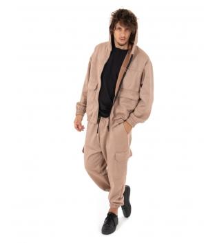 Outfit Uomo Completo Tuta Camoscio Felpa Pantalone Zip Cappuccio Tinta Unita Beige GIOSAL
