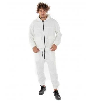 Outfit Uomo Completo Tuta Camoscio Felpa Pantalone Zip Cappuccio Tinta Unita Bianco  GIOSAL