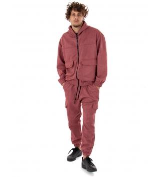 Outfit Uomo Completo Tuta Camoscio Felpa Pantalone Zip Cappuccio Tinta Unita Rosa Scuro GIOSAL