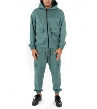 Outfit Uomo Completo Tuta Camoscio Felpa Pantalone Zip Cappuccio Tinta Unita Verde Acqua GIOSAL