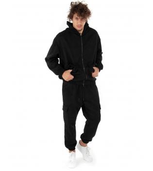 Outfit Uomo Completo Tuta Camoscio Felpa Pantalone Zip Cappuccio Tinta Unita Nero GIOSAL