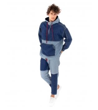 Outfit Uomo Jeans Felpa Pantalone Bicolore Denim Chiaro Scuro Casual GIOSAL