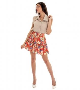 Outfit Donna Completo Top Camicia Tinta Unita Gonna Beige Rosso GIOSAL-Beige-TAGLIA UNICA