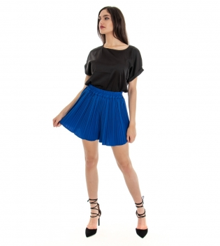 Outfit Donna Completo T-shirt Raso Tinta Unita Shortrs Blu Nero GIOSAL